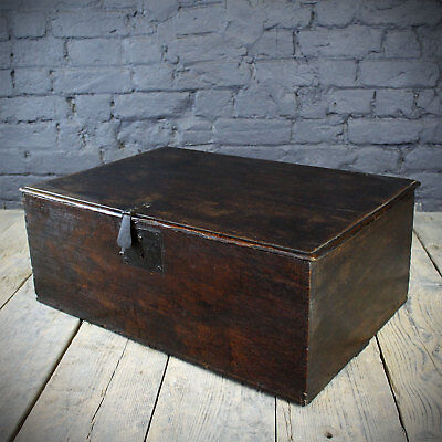 Early 18th C Oak Bible Box with Antique fittings and Candle Drawer