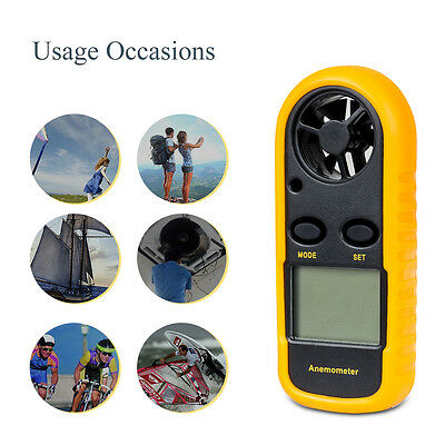LCD Digitaler Windmesser Thermometer Anemometer Windgeschwindigkeit Meter Neu