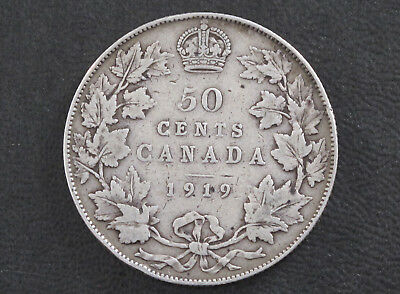 1919 Canada Fifty Cents .925 Silver Coin D8610