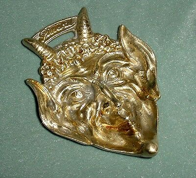 Old 'pineral' Advertising Bronze Dish Tray Devil Horned Devilish Mask Head 5""