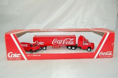 Coca Cola Coke Edocar 1994 CH 4 Delivery Set Tractor Trailer Truck with Van Red