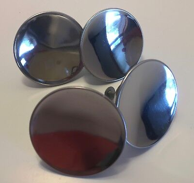 "Vtg NOS - 2"" Round CHROME KNOBS Concave Dished Atomic Mirro-Chrome? RARE!"