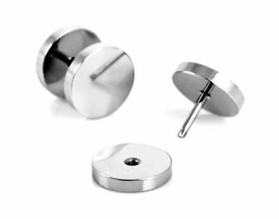 Pair of 8mm Fashion Silver Stud Earrings - Ear Plug Cheat Fake Stretch Expand