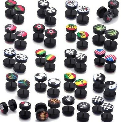 Pair of 8mm Black Logo Stud Earrings - Peace Ear Plug Cheat Fake Stretch Barbell