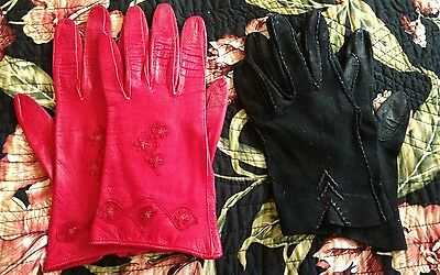 2 pair of Vintage Red and Black Women's Dress Gloves