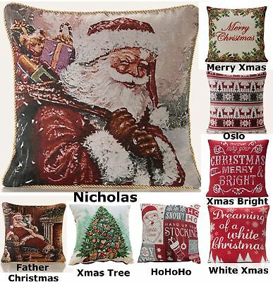 Tapestry Christmas Cushion Cover Square Scatter Case Xmas Santa Claus Reindeer