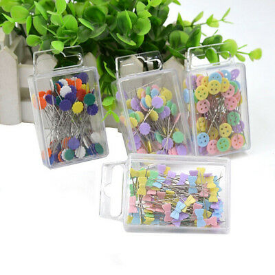 100x Patchwork Craft Flower Button Head Pins Quilting Tool Sewing Accessory Dazz