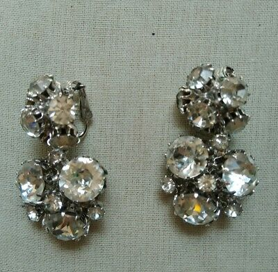 Vintage Vogue Jewelry Clip Earrings Rhinestone Dangle Cers