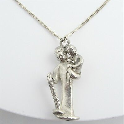 Antique Madonna And Her Child Pendant- Sterling Silver