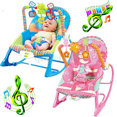 Baby Infant Rocker Bouncer Swing Reclining Chair Soothing Music & Toys 0M+ NEW