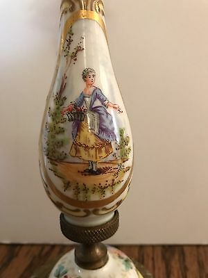 Rare Antique SEVRES CANDLESTICK - hand painted Porcelain and Bronze-Signed