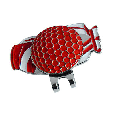 Portable Alloy Golf Bag Pattern Golf Ball Marker & Magnetic Hat Clip Red
