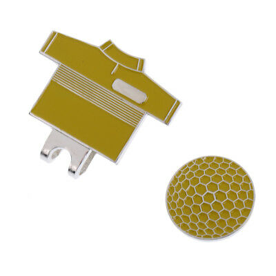 Yellow Golf Suit Pattern Magnetic Visor & Hat Clip with Golf Ball Marker