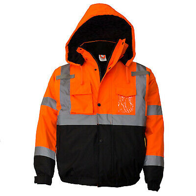 ANSI Class 3 Men's Hi Viz Reflective Insulated Waterproof Winter Safety Jacket