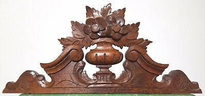 Carved Wood Pediment Antique French Flower Vase Salvaged Mount Cornice Crest