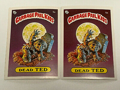 1985 UK Garbage Pail Kids 1st Series 5a Dead TED : VARIATION Cards