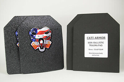 CATI Armor® AR500 Steel Plates Base Coating Level III 8x10 PAIR with Trauma Pads