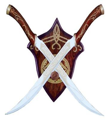 Lord of the Rings Legolas Fighting Knives Red Or Black Elven LOTR Swords Plaque