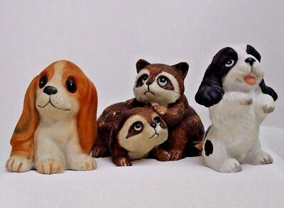 Grouping of  HOMCO Animals, Raccoons, Basset Hound,  Black & White Pup  9/7*300