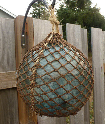 """Vtg Japanese Glass Fishing Float 30.5""""  Circumference Including Rope"""