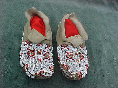Vintage SIOUX Native American Indian Beaded Moccasins with Wear