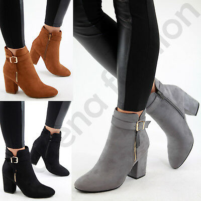 New Womens Ladies Ankle Boots High Block Heel Buckle Side Zip Casual Shoes Sizes