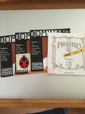 Thomastik Dominant Violin String set with Pirastro Gold Label E Ball End 4/4