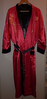 Vintage Chinese Silk Reversable  Dragon Motif Large Dressing Gown  Ex Condition