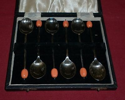 Set 6 Art Deco Epns And Bakelite Coffee Spoons  Excellent  Condition