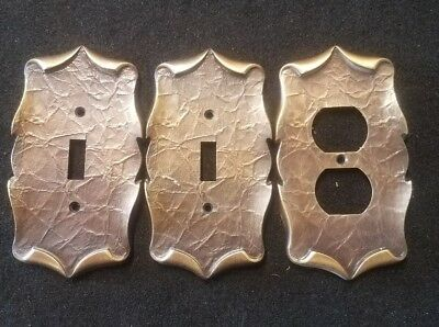 Set of 3 Vintage style brass look Outlet Covers vein Pattern