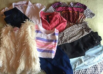 Lot Of Girls Size 7 8 Clothing Used Furry Vest Pink Dkny Blazer Jeans Shirts