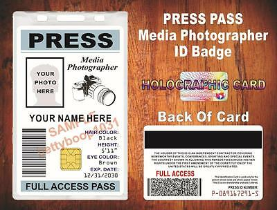 Press Pass ID Badge / Card - {Custom Printed w Your Photo & Info} - Photographer