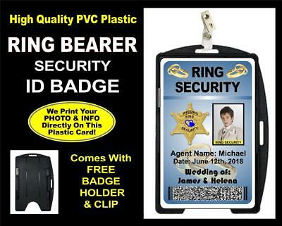 Wedding RING BEARER SECURITY ID Badge / Card - PERSONALIZED - Clip Included!