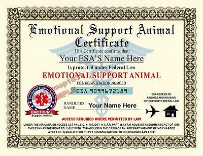 EMOTIONAL SUPPORT ANIMAL (ESA) Certificate 8.5 by 11 inches - CUSTOM - USA MADE