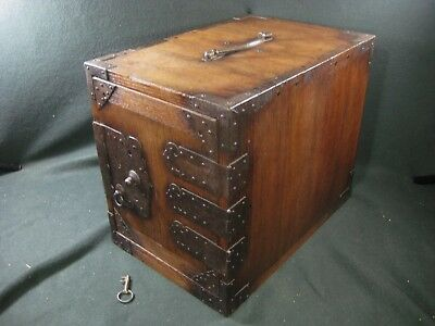 Japanese Meiji Era Antique 135 Yr Old Zelkova Wood Funedansu Ship's Tansu Chest
