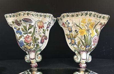 Faience Sconces--EXCEPTIONAL PAIR--Antique French / Italian Terracotta--7-Day