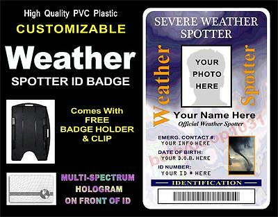 Weather Spotter ID Badge (STORM CHASER) >CUSTOMIZABLE W/ YOUR PHOTO & INFO< PVC