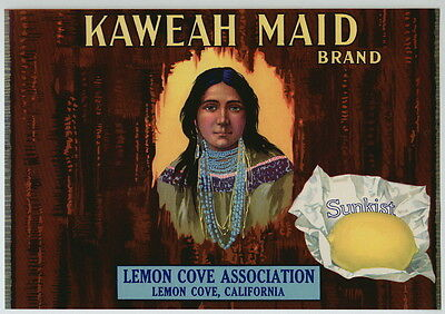 KAWEAH Maid Vintage Lemon Cove California Crate Label, Indian, AN ORIGINAL LABEL