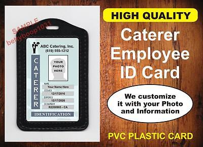 CATERING Employee ID Badge / Card  Custom w/ Your Photo & Info - Menu Company ID