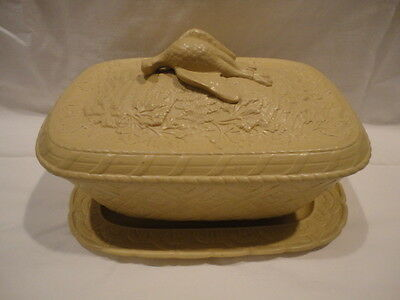 1800's RARE 4- Piece Caneware Game Dish with Patridge Finial Cover Liner Plate
