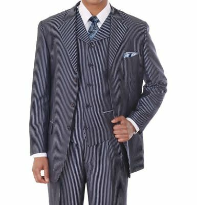Fortino Landi Mens Single Breasted Solid 3 Button Fashion Suit w// Vest 2916V 46 Long, Navy