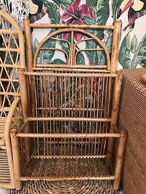 Vintage Boho Wicker Cane Bamboo Magazine Book Holder