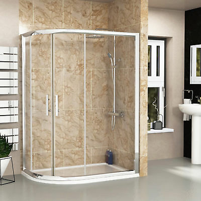 Left Hand Entry Double Door Offset Quadrant Walk In Shower Enclosures Stone Tray