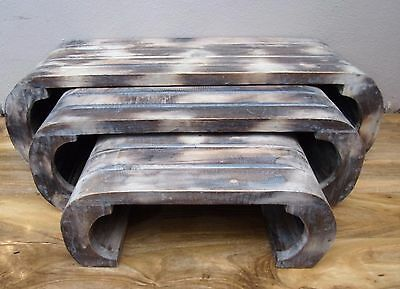 Hand Made Rustic Nest of 3 Stacking Tables Shabby Chic Wash Finish 90cm