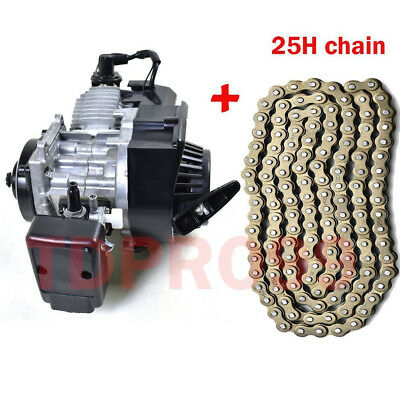 49cc 2 Stroke Pull Start Engine Motor + 25H Chain Mini Dirt Pocket ATV Quad Bike