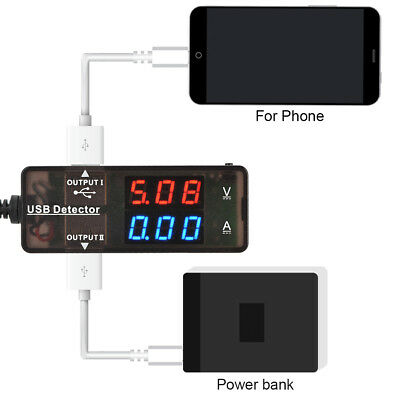 Dual USB Power Voltage Current Voltage Detector Monitor Meter Charger Testers EB