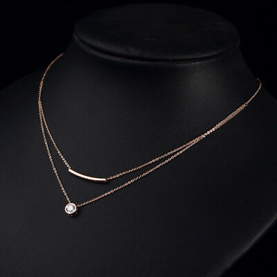 +18K Rose Gold Filled GF Crystal Pendant Doulbe Layered Necklace