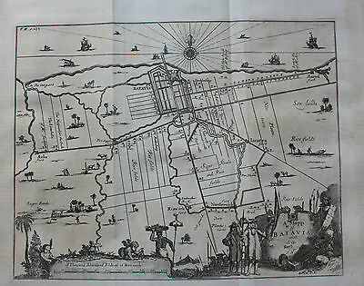 Original antique map BATAVIA (JAKARTA) INDONESIA, Nieuhof, Churchill, Moll, 1744