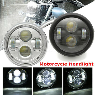 6.5'' Motorcycle Universal 4LED Round Headlight Hi/Lo Beam Bulb Cafe Racer 6000K