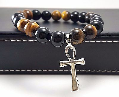 MENS Ankh Bracelet 925 Sterling Silver Egyptian Key of Life Black Onyx Tiger Eye
